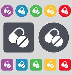 Medical pill icon sign A set of 12 colored buttons vector image