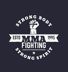 mma fighting logo emblem t-shirt print vector image