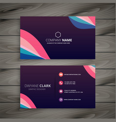 modern dark purple abstract business card vector image