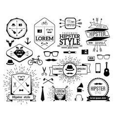 Monochrome hipster modern line logo set vector