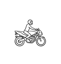 Motocross rider hand drawn outline doodle icon vector