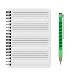 Notebook with a green pen vector