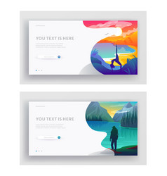 Outdoor yoga or fitness and traveling hiking hobby vector