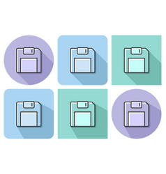 outlined icon of floppy disk with parallel and vector image