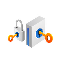 padlock and key security and protection concept vector image