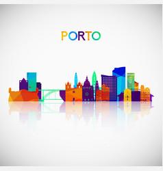 Porto skyline silhouette in colorful geometric vector