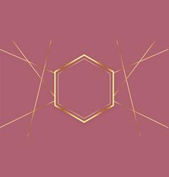 premium hexagonal golden lines frame background vector image