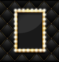 Realistic 3d detailed makeup mirror on a quilted vector