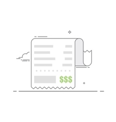 Receipt with shopping list and value of vector