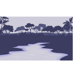 River scenery with forest silhouette vector