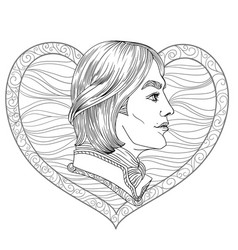romance boy coloring page vector image
