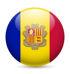 Round glossy icon of andorra vector