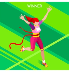 Running Winner 2016 Summer Games Isometric 3D vector