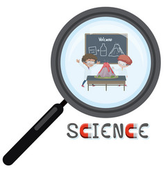 science logo with scientist in magnifying glass vector image