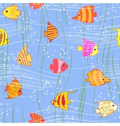 seamless multicolored tropical fish background vector image