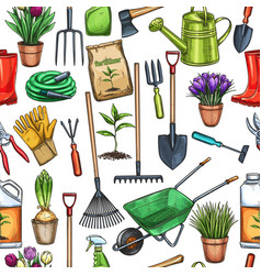 seamless pattern gardening vector image