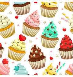 seamless pattern yummy colored cupcakes vector image