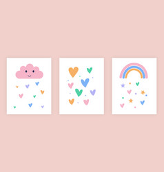 Set cute for kids with rainbow vector