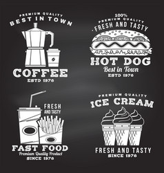 set fast food retro badge design on the vector image