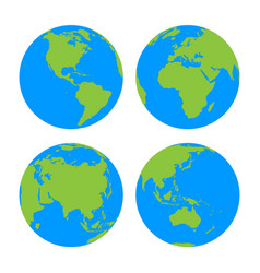 set of four planet earth globes with green land vector image