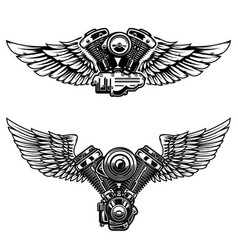 Set of winged motorcycle engine design elements vector