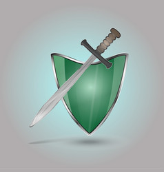 shield and sword isolated vector image
