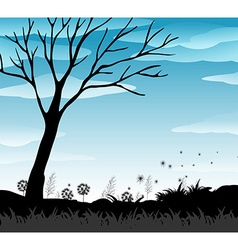 Silhouette field with blue sky vector