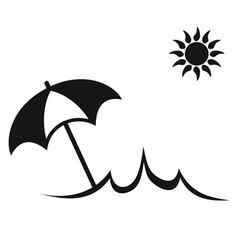simple sun summer umbrella beach icon vector image