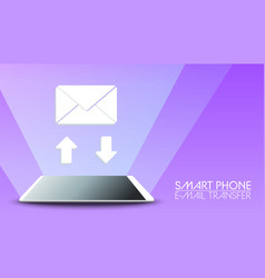 smart phone send receive email on violet vector image