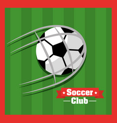 soccer club ball goal red green background vector image