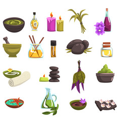 Spa salon and body care design elements set oil vector