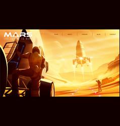Spaceship landing missions on mars vector