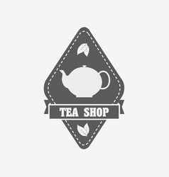 Tea shop badge label or logo design template with vector