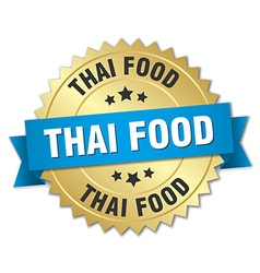 Thai food 3d gold badge with blue ribbon vector