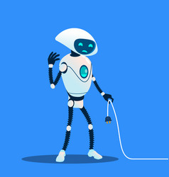 tired robot holding charging cord lost vector image
