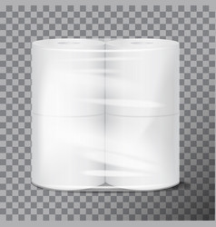 Toilet paper package white mock up with vector