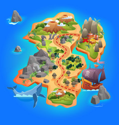 treasure game map cartoon tropical island map vector image