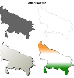 Uttar Pradesh blank outline map set vector