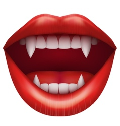 Vampire mouth with open lips vector