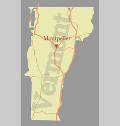 vermont accurate high detailed state map vector image