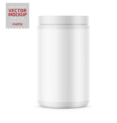 White matte plastic jar with lid for powder vector