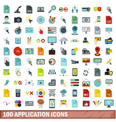 100 application icons set flat style vector image vector image