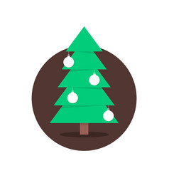 christmas tree in circle with xmas balls vector image