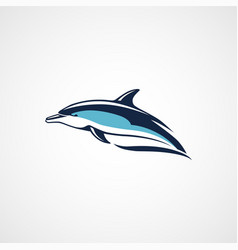 dolphin swims logo on white background vector image