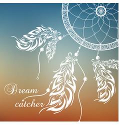 Dream catcher sunset background vector