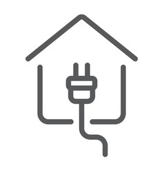 electricity home line icon real estate and home vector image