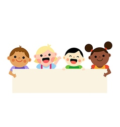 Four multiethnic kids holding blank banner vector image vector image