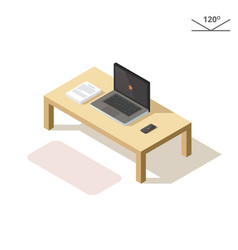 isometric laptop phone and documents vector image vector image