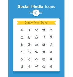 line social media tiny icon set vector image vector image