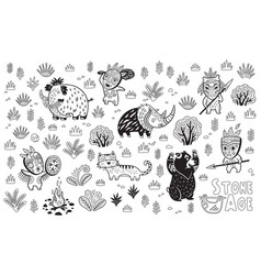 outline stone age set vector image